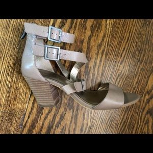BCBGeneration block heel sandal with buckles